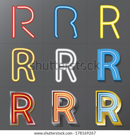 Set of Neon Style Alphabet R, Eps 10 Vector, Editable for Any Background, No Clipping Masks - stock vector