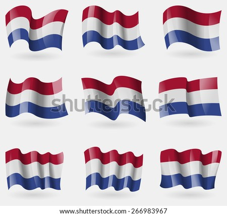 Set of Netherlands flags in the air. Vector illustration - stock vector