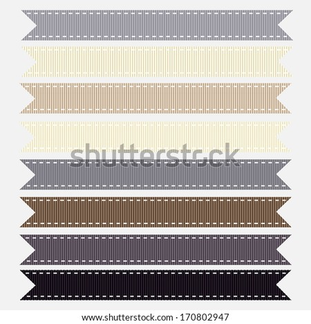 Set of Neutral Grosgrain Ribbons. Vector Illustration. Also see other color sets.  - stock vector