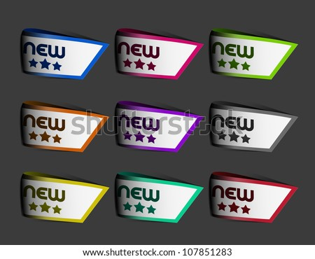 Set of new arrival labels design. Vector. - stock vector