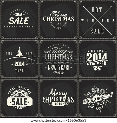Set of New year and Christmas sale vintage chalk text labels on a blackboard - stock vector