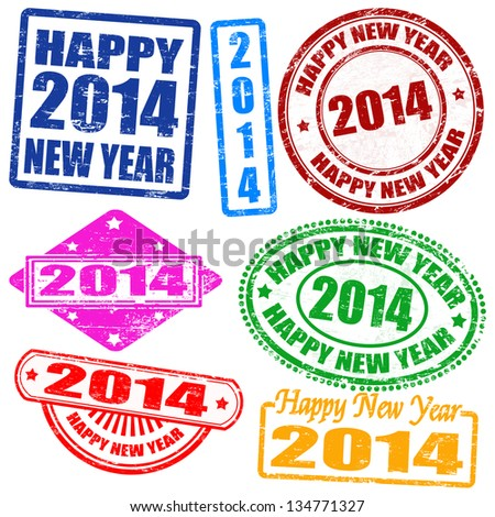 Set of 2014 new year grunge stamps, vector illustration - stock vector