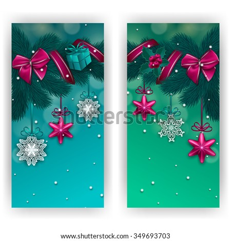 Set of New Year's cards - a garland of fir branches, bows, gift, ribbons, baubles, holly berries, stars for greeting, party invitation. Christmas festive blue background. Vector illustration EPS10. - stock vector