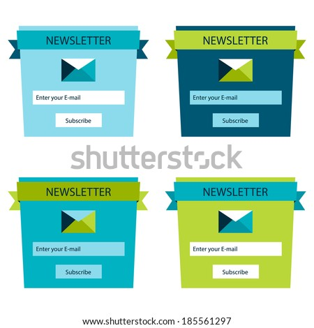 Set of newsletter form templates, modern flat user interface - stock vector