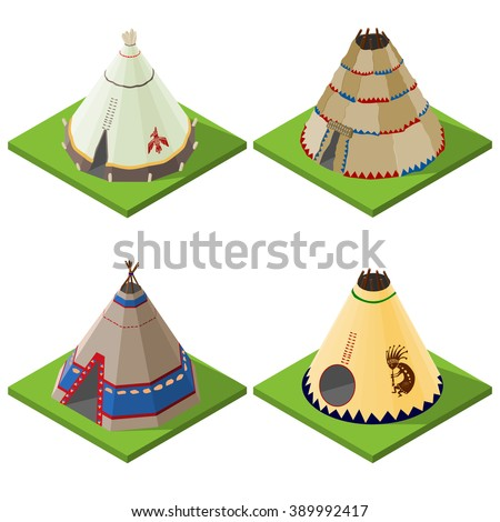 Set of nice looking bright isometric indian wigwams and tents. Vector illustration. - stock vector