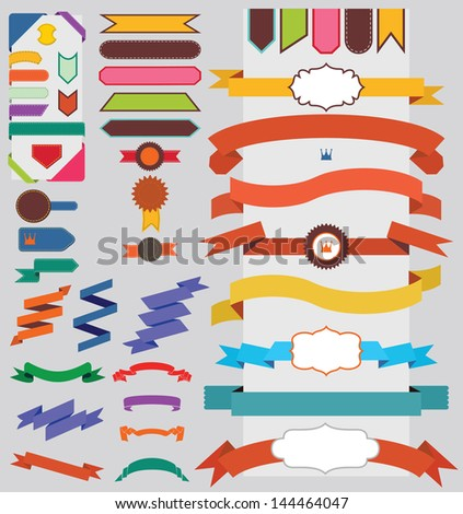Set of nice retro ribbons and labels with signs - stock vector