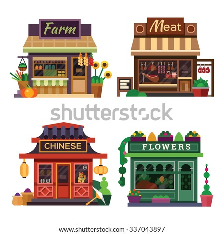 Set of nice shops. Different Showcases: meat shop, farm products, pizza cafe, chinese shop, flower shop. Flat vector illustration stock set. - stock vector