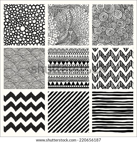 Set of Nine Abstract Hand Drawn Geometric Black and White Seamless Background Patterns. Fully Editable EPS file with Pattern Swatches - stock vector