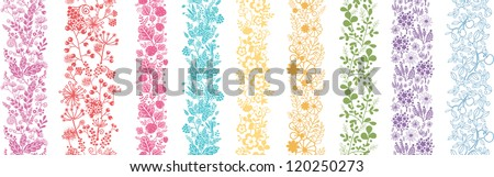 Set Of Nine Abstract Plant Vertical Seamless Patterns Border - stock vector