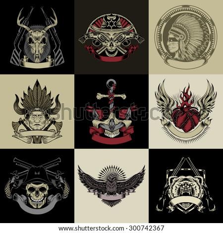 Set of nine art label. Vector iilustration. - stock vector