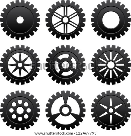 Set of nine black gears different forms - stock vector
