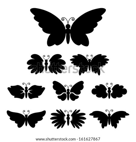 Set of nine black silhouettes of butterflies isolated on white - stock vector
