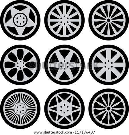 Set of nine black wheels silhouettes - stock vector