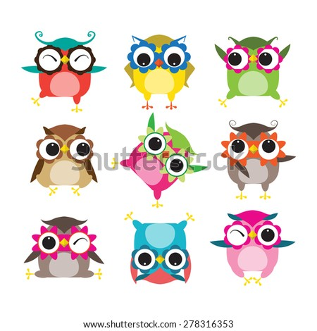Set of nine cartoon owls with various emotions - stock vector
