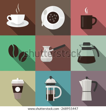 Set of nine coffee icons in flat style. Vector EPS10 illustration.  - stock vector