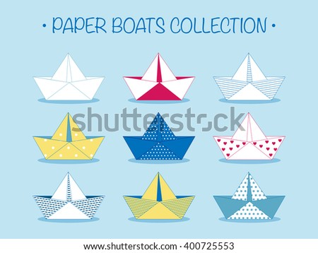 Set of nine cute origami paper boats or ships with different patterns and decorations isolated on blue. Sea theme. Colored nautical elements collection, cartoon style. Vector illustration.  - stock vector