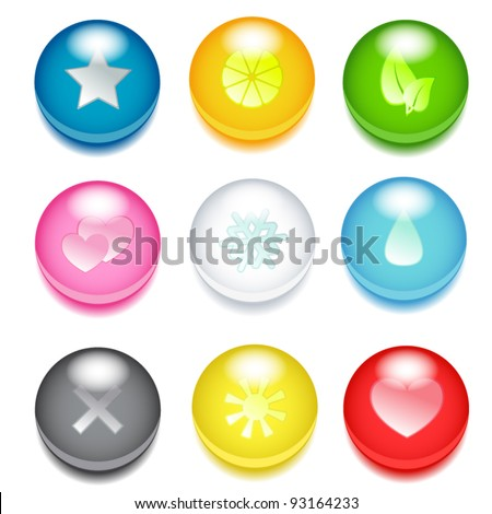 Set of nine 3d colored icons with different signs - stock vector