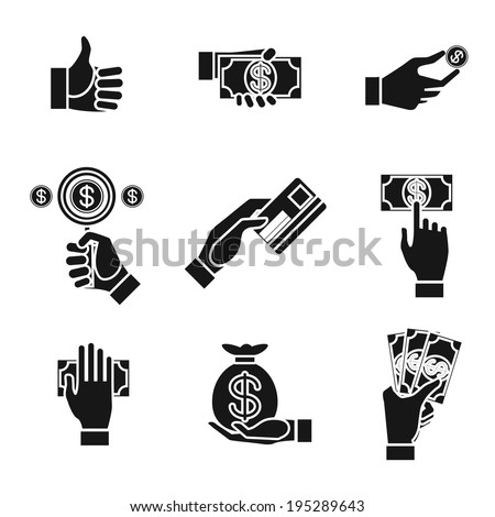 Set of nine different black and white silhouette icons of hands holding money with dollar banknotes  bills  coins  money bag and credit card   vector illustration conceptual of finances and payment - stock vector