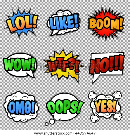 Set of nine different, colorful comic stickers. Pop art speech bubbles with  LOL, LIKE, BOOM, WOW, WTF, NO, OMG, OOPS, YES.  Isolated, vector eps 10. - stock vector
