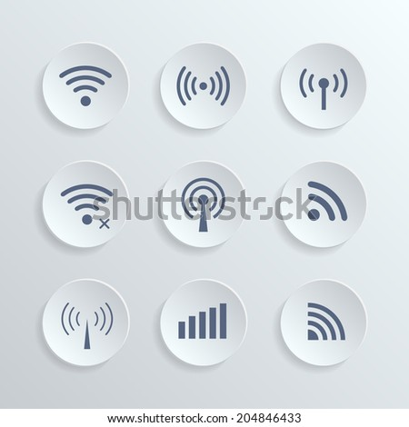 Set of nine different  vector wireless 3D buttons and wifi icons for remote access and communication via radio waves. - stock vector