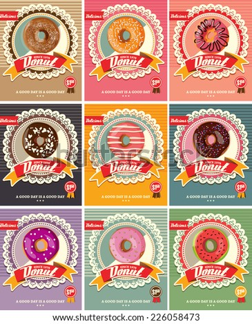 Set Of Nine Donuts Vector - stock vector