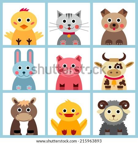 Set of nine farm animals - stock vector