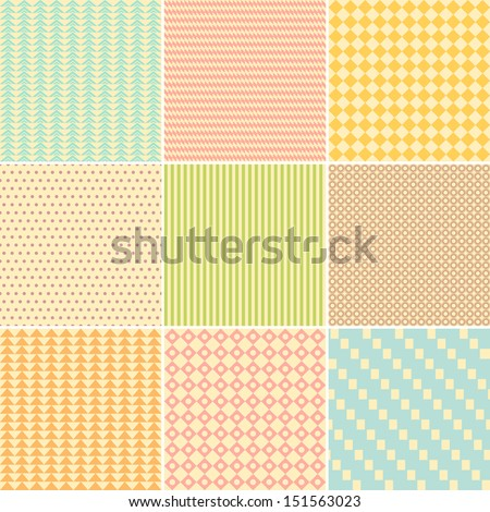 Set of nine geometric seamless patterns in retro style. Can be used to fabric design, wallpaper, decorative paper, web design, etc. - stock vector