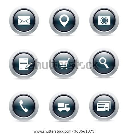 Set of nine glossy dark icons for business - stock vector