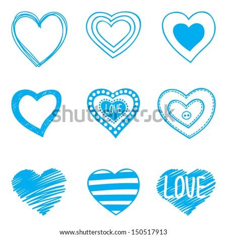 set of nine hand drawn hearts - stock vector