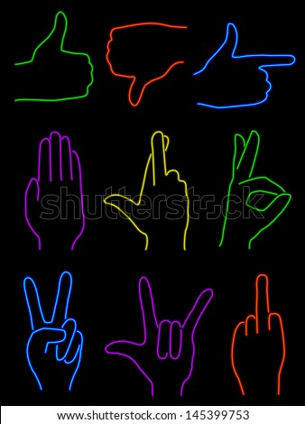 Set of nine hand gestures rendered in neon - stock vector