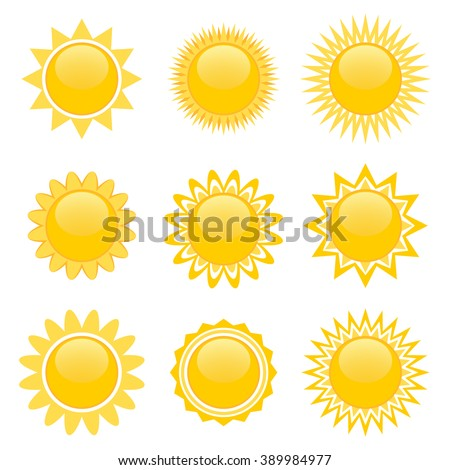 Set of nine icons of sun isolated over white for video game - stock vector