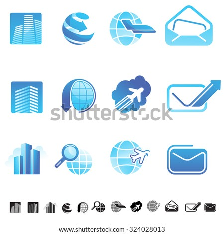 Set of nine icons with business and global collaboration abstract symbols. - stock vector