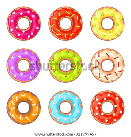 Set of nine isolated donuts with colorful glaze and sprinkles - stock vector