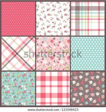 Set of nine orated seamless cute tiny floral,flowers with check and dots texture vector  background - stock vector