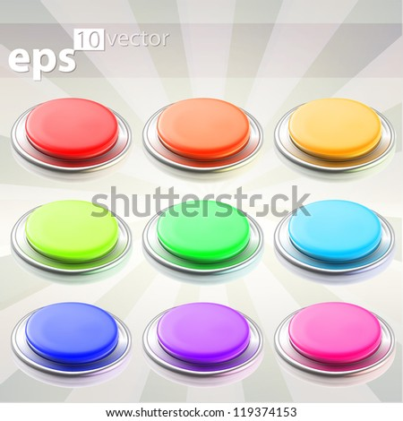 Set of nine round push eps10 vector buttons with chrome metal edging - stock vector