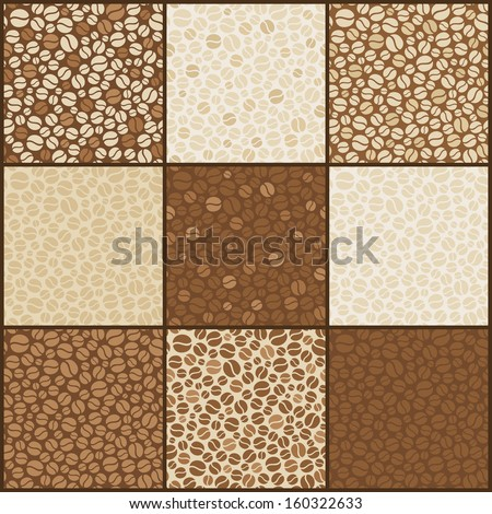 Set of nine seamless coffee beans patterns. Vector illustration - stock vector