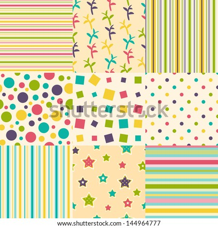 set of nine seamless colorful backgrounds - stock vector