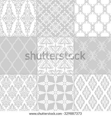 Set of nine seamless damask patterns. Classic grey wallpapers. Vintage vector backgrounds. - stock vector