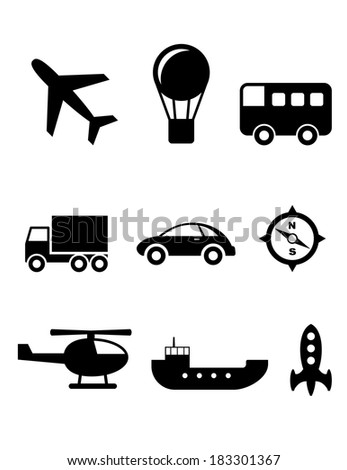 Set of nine silhouette transport icons logo with a plane, hot air balloon, bus, truck, car, compass, helicopter, boat and rocket - stock vector