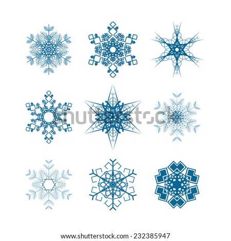 Set of nine snowflakes icons isolated on white - stock vector