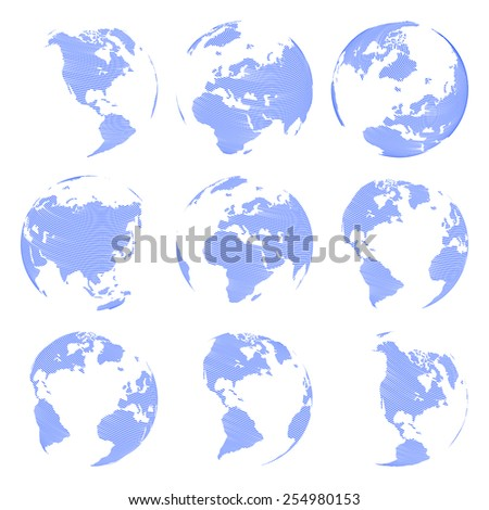 Set of nine Vector abstract globe isolated on white background illustration - stock vector