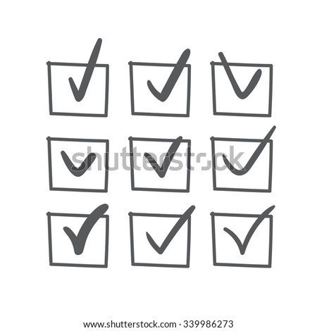 Set of nine vector hand drawn blue, red and green check marks or sketch ticks in boxes on a list - stock vector