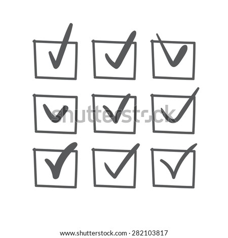 Set of nine vector hand drawn check marks or sketch ticks in boxes on a list - stock vector