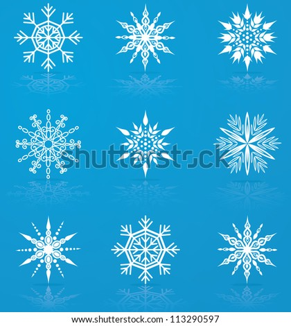 Set of nine vector snowflakes for christmas design - stock vector