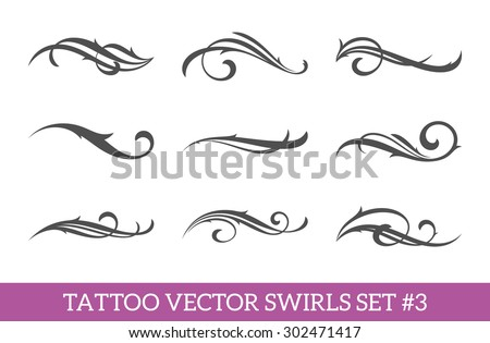 Set of nine vector tattoo style swirls for cool art or text decoration. Calligraphic flourishes collection.  - stock vector