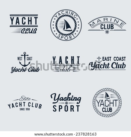 Set of nine vintage yacht club stamps isolated. Vector retro nautical anchor badges. Ocean graphic logo. Travel emblem. Sailor symbol. Sea cruise illustration. Marine sport banner - stock vector