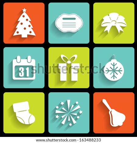 Set of nine white new year icons. eps10 - stock vector