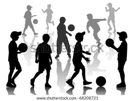 Set of nine young boys playing  in football - stock vector