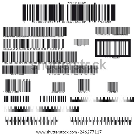 set of nineteen barcode - stock vector