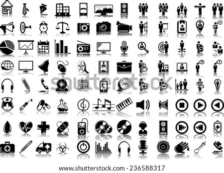 Set of 96 (ninety six) vector icons of business, media and medical - stock vector